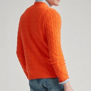 Cable- Knit Cashmere Sweater Active Orange